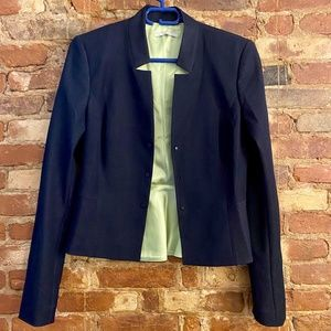 Tahari cropped navy blazer with green silk lining